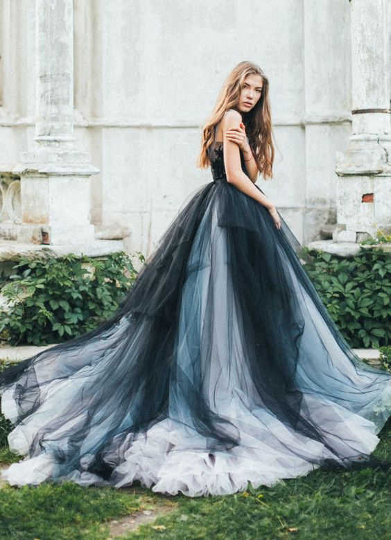 Unique Black, Silver and Grey Tulle Ballgown Wedding Dress