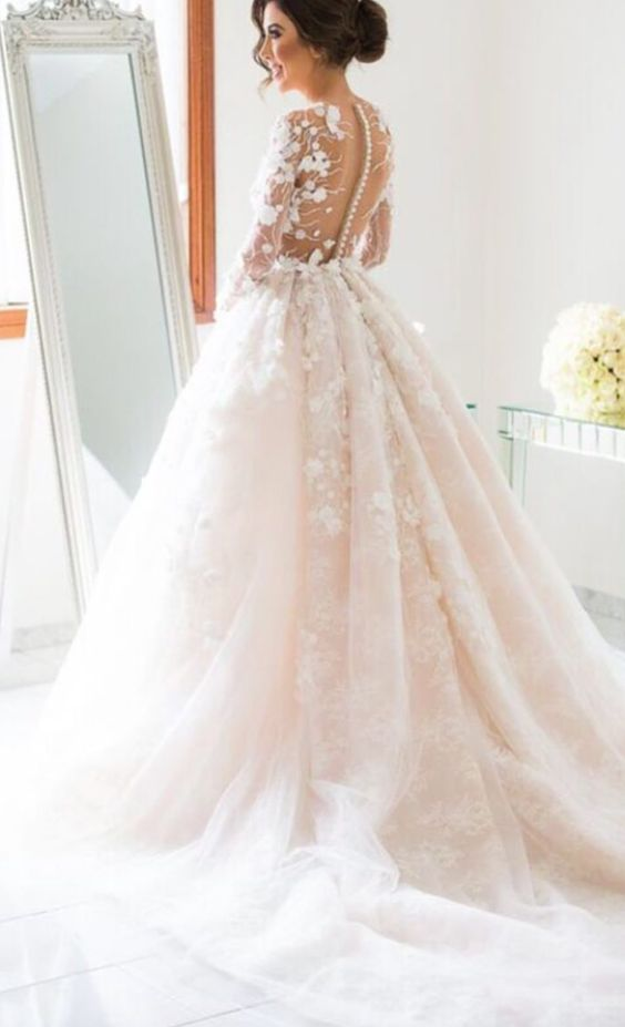 Long-Sleeve Floral Applique Blush Ballgown Wedding Dress - MODwedding