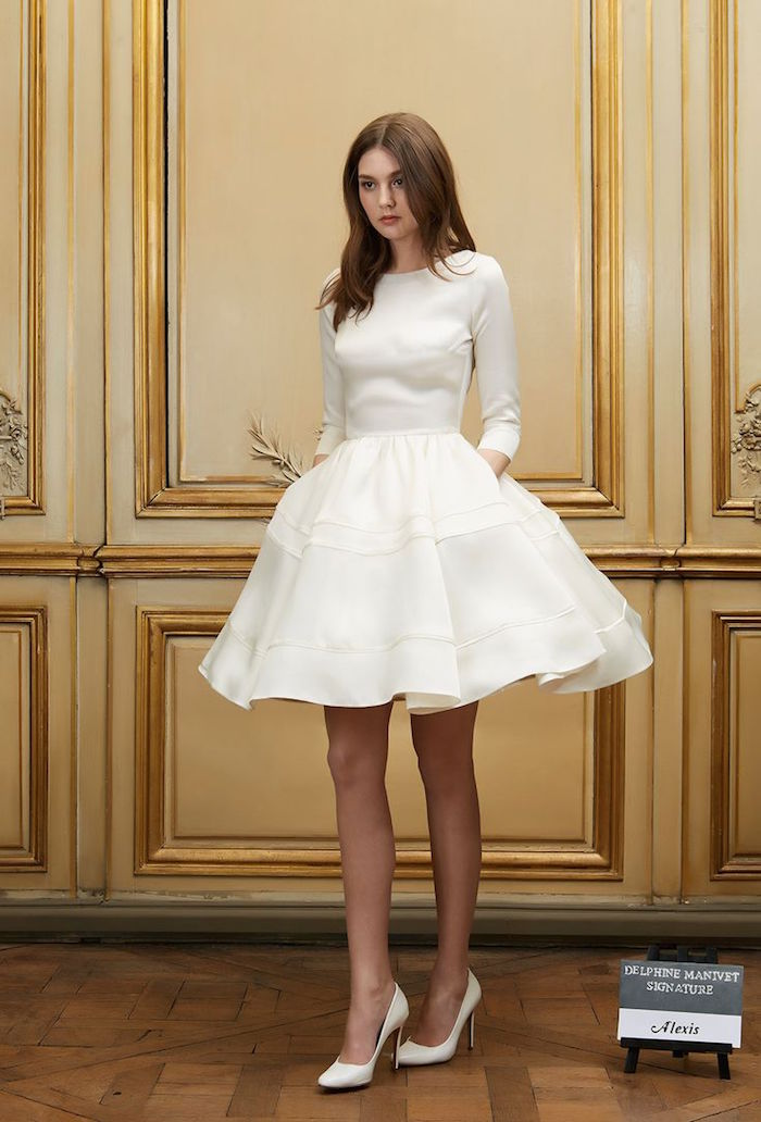 short simple short modern wedding dress