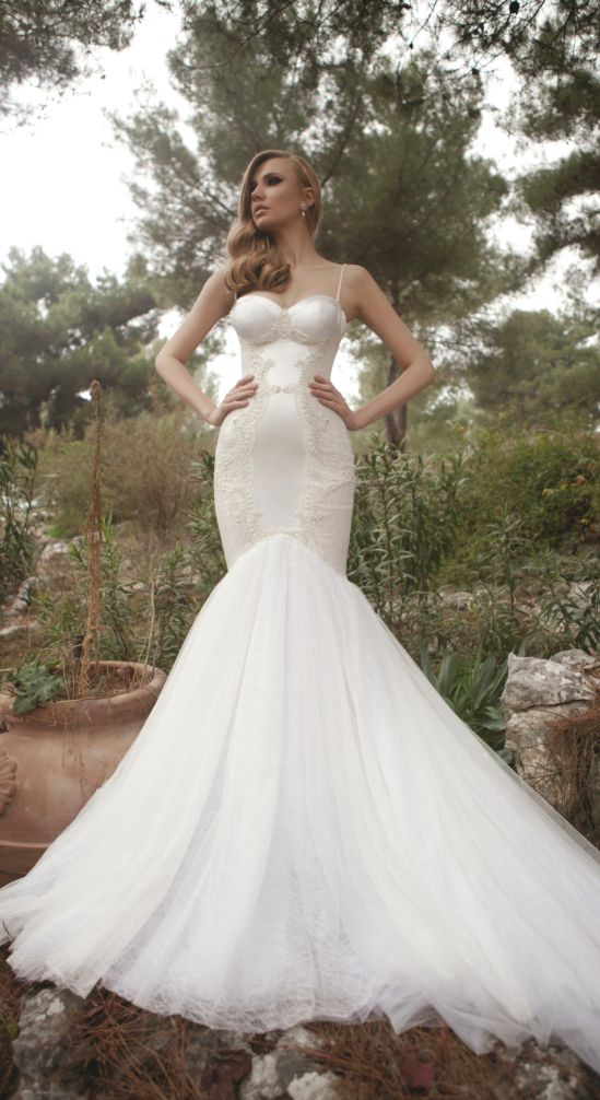 Embroidered White Silk Spaghetti Strap Mermaid Wedding Dress ...
