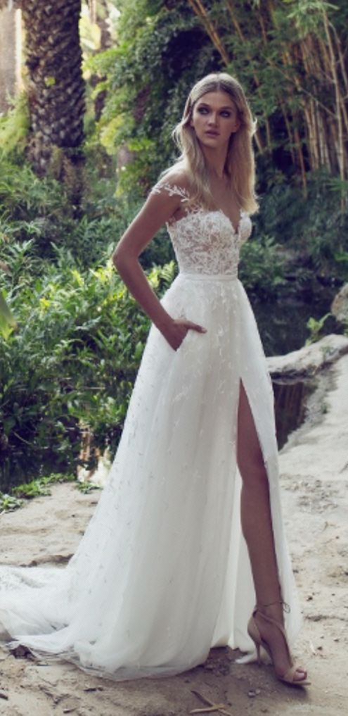 Embellished Off-the-Shoulder Slit Tulle Skirt Wedding Dress - MODwedding