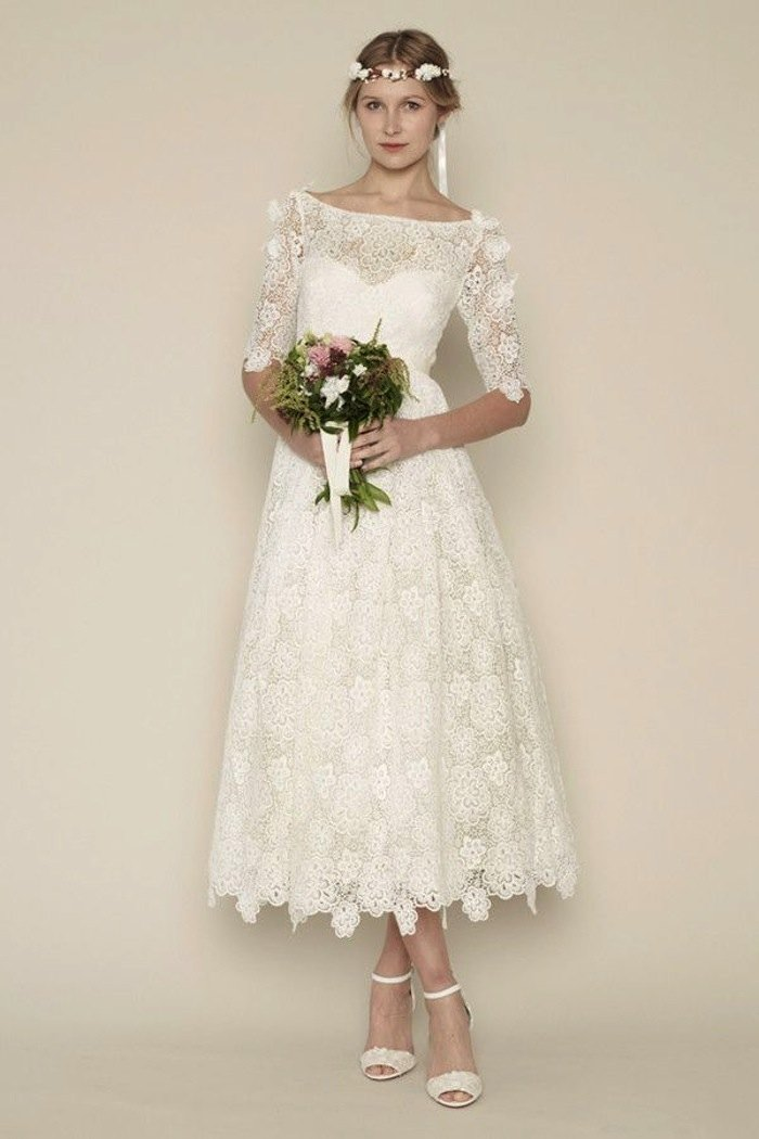 Tea length wedding dresses for classic style modwedding for Mid length wedding dress