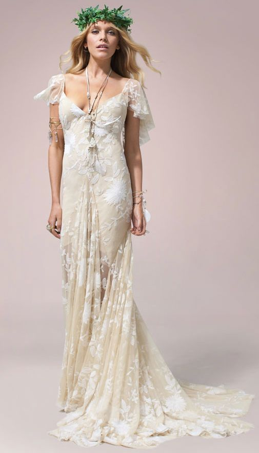 Off-White Flutter Sleeve Wedding Dress - MODwedding
