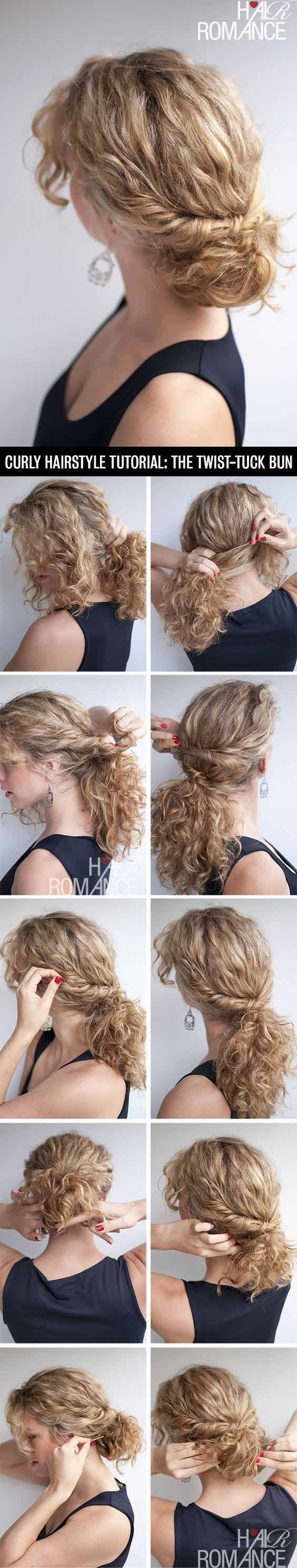 Curly Hairstyle Tutorial The Twist Tuck Bun