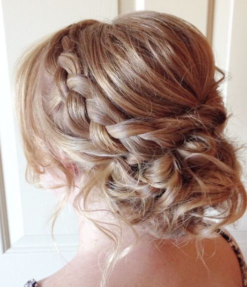 Messy Braided Low Updo Wedding Hairstyle - MODwedding