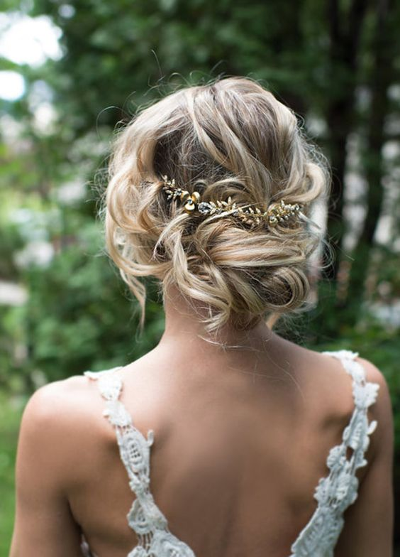 Low Updo Gold Leaf Hairpiece Wedding Hairstyle - MODwedding