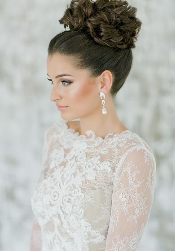 High Curly Bun Updo Wedding Hairstyle