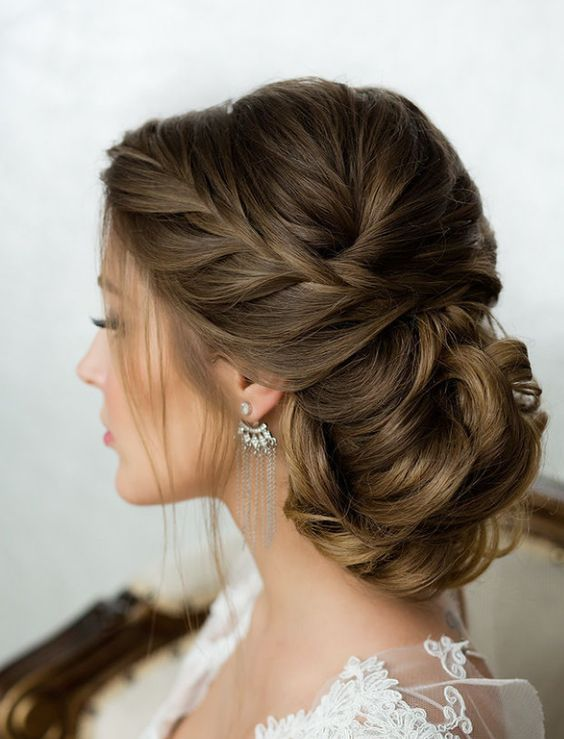 Side french braid low wavy bun wedding hairstyle modwedding more on wedding hairstyles junglespirit Image collections