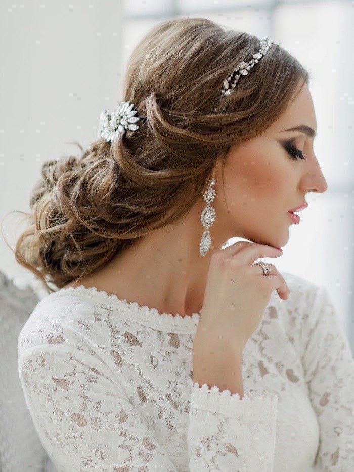 Long Length Top Pulled Back Curled Wedding Hairstyle | LONG HAIRSTYLES