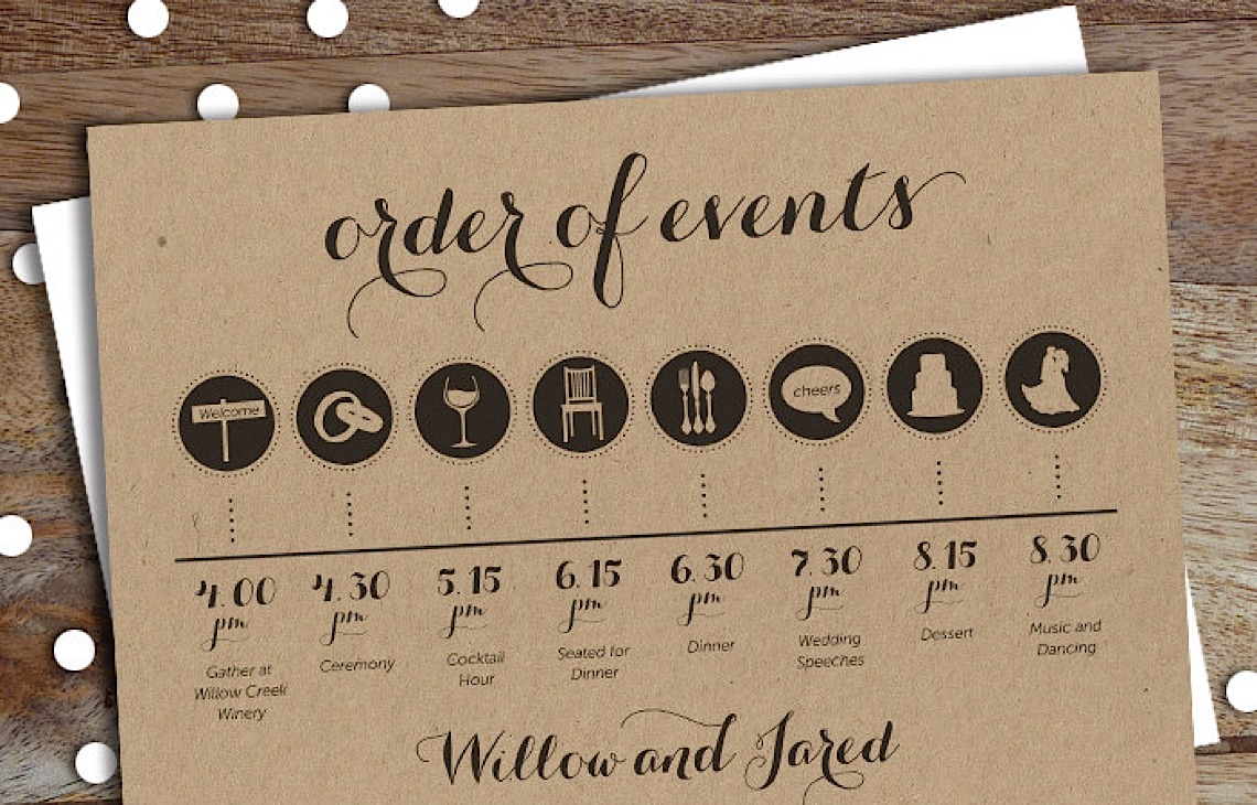 Reception timeline for wedding