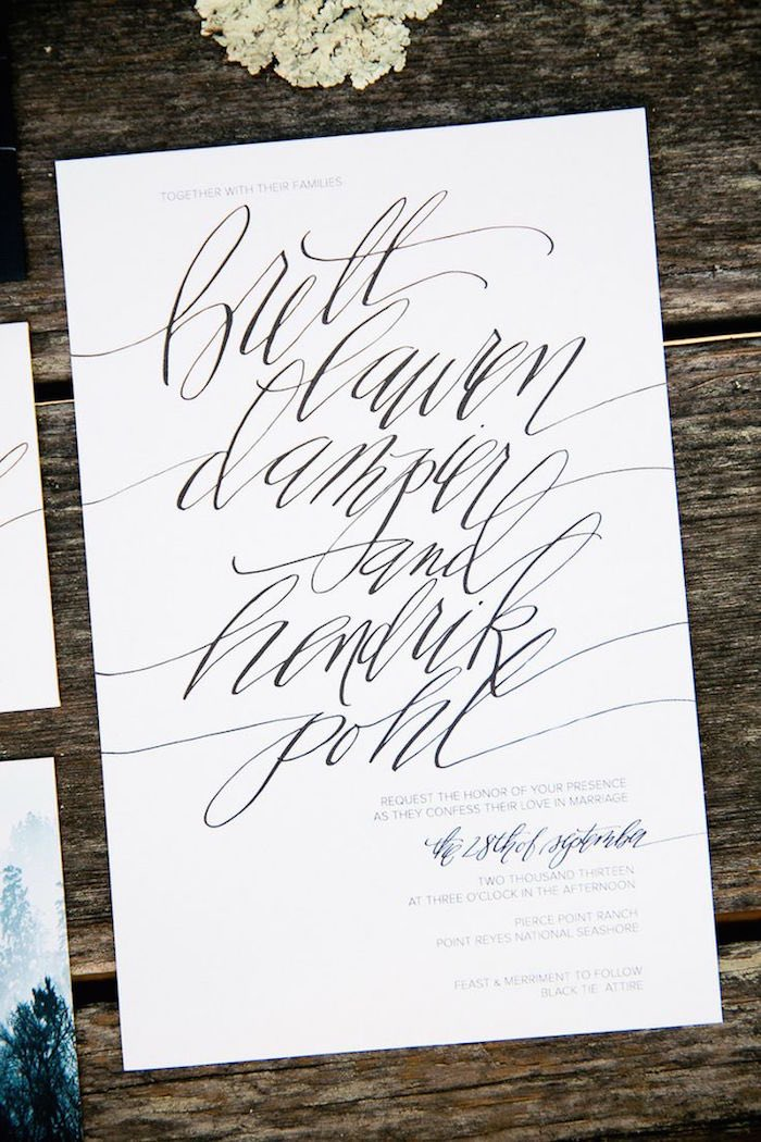 Wedding Invitations With Elegant Calligraphy Modwedding