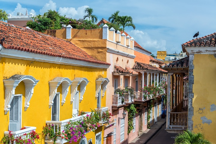 Colonial buildings and balconies in the historic center of Cartagena, Colombia.