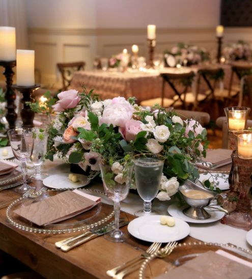 Indoor Wedding Reception Ideas: Pink And Green Indoor Wedding Reception Centerpiece