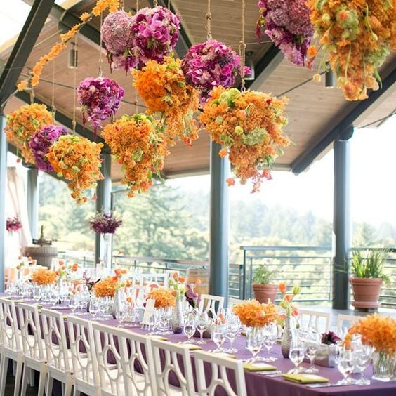 Insurance For Wedding Reception: Unique Pink And Orange Flower Decorated Outdoor Wedding