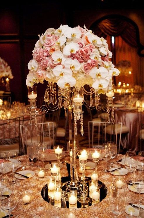 Rose Gold Tree Centerpiece : White orchid and pink rose gold wedding reception