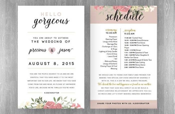 Wedding Reception Programs Sample Hayit Elcuervoazul