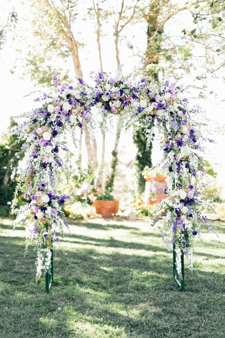 Purple And Silver Decor Winery Wedding