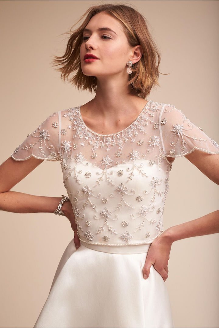 Bhldn finishing touches for winter wedding brides modwedding for Cover up wedding dress